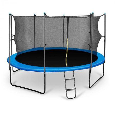 KLARFIT Rocketboy 430, 430 cm trambulin, belső biztonsági háló, széles létra, kék